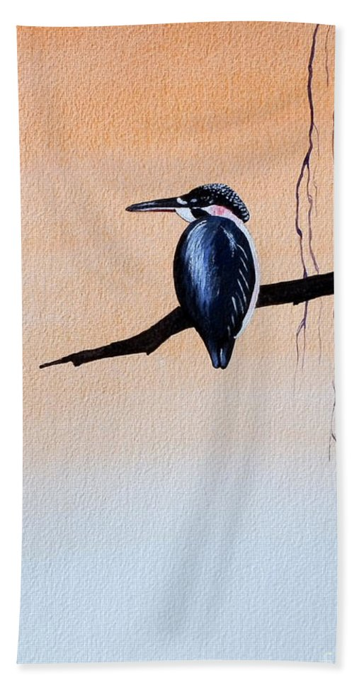 Tattoo .japanese Bath Towel featuring the painting Japanese Kawasemi Kingfisher Feng Shui Earth by Gordon Lavender