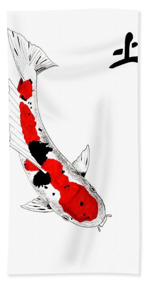 Koi Carp Japanese Fish Pond Water Japanese Koi Lillies Carp Fish Trees Painting Gordon Lavender Water Garden Art Tancho Kohaku Asagi Ogon Gin Rin Goshiki Komoyo Higoi Yamato Showa Utsuri Sumi Sanke Irogoi Mirror Carp Bekko Hand Towel featuring the painting Japanese Koi Sanke Feng Shui Earth by Gordon Lavender