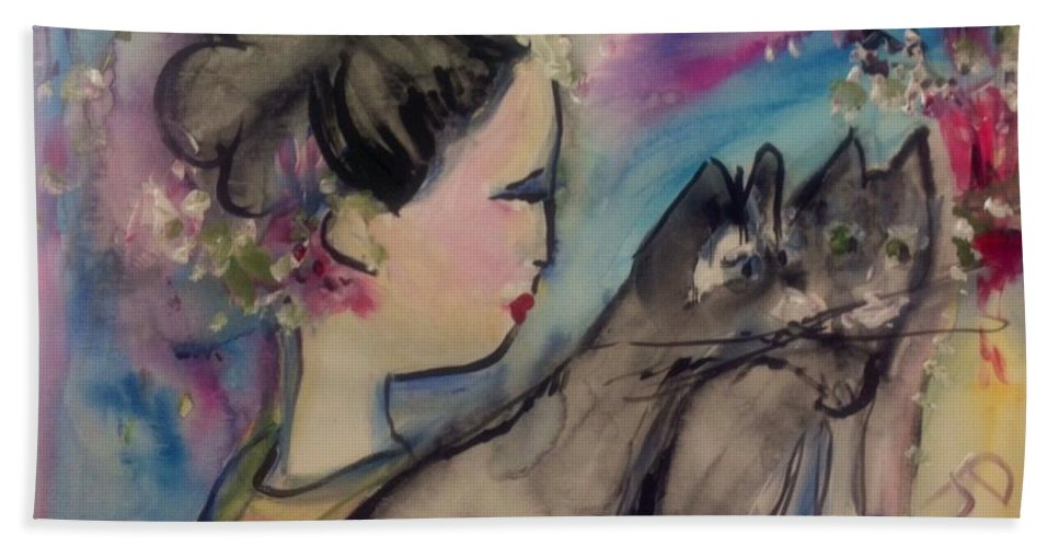 Felines Hand Towel featuring the painting Japanese Lady And Felines by Judith Desrosiers