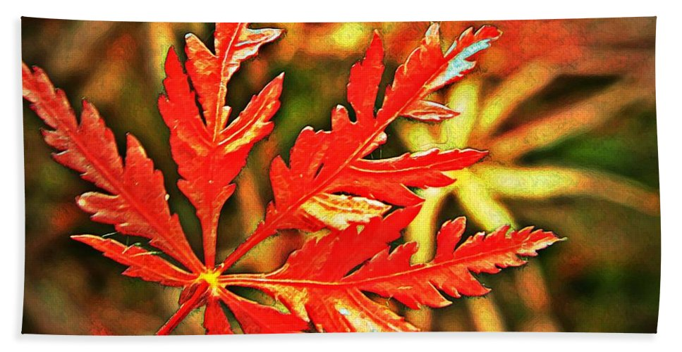 Maple Hand Towel featuring the photograph Japanese Maple Leaf by Chris Berry