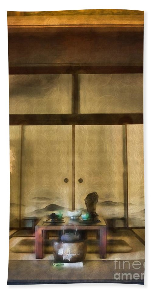 Traditional Hand Towel featuring the photograph Japanese Tea Room by Peggy Hughes