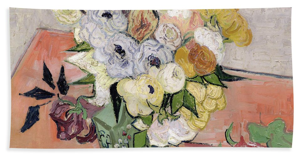 1890 Bath Towel featuring the painting Japanese Vase With Roses And Anemones by Vincent van Gogh