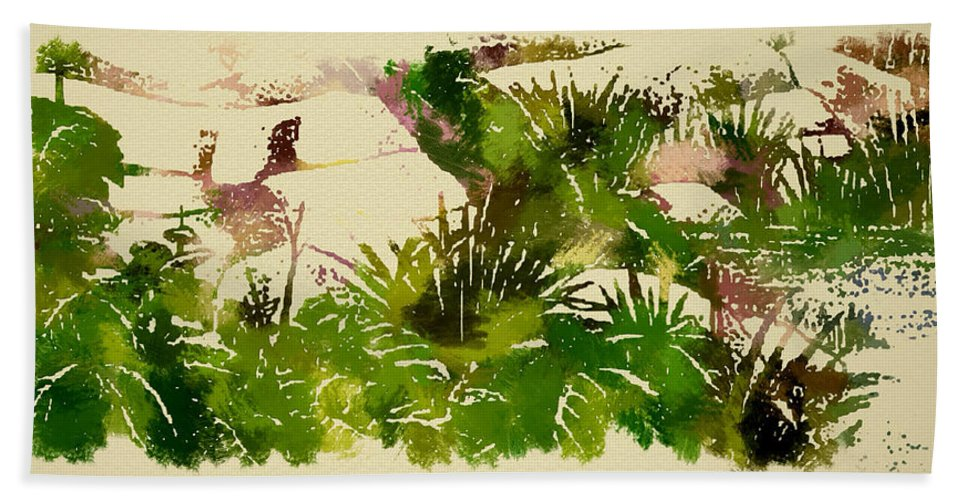 Japanese Gardens Bath Sheet featuring the painting Japanese Washi Garden Reflections by Mario Carini