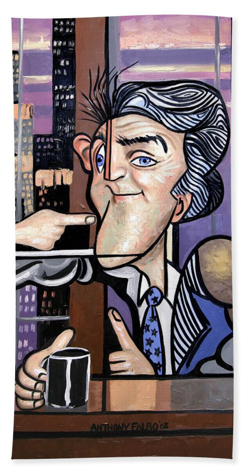 Jay Leno You Been Cubed Hand Towel featuring the painting Jay Leno You Been Cubed by Anthony Falbo