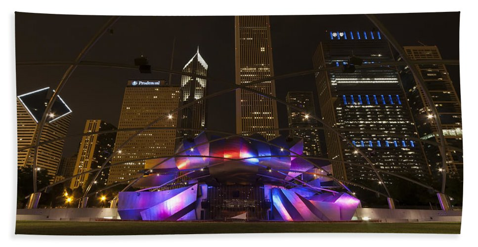 3scape Photos Hand Towel featuring the photograph Jay Pritzker Pavilion Chicago by Adam Romanowicz