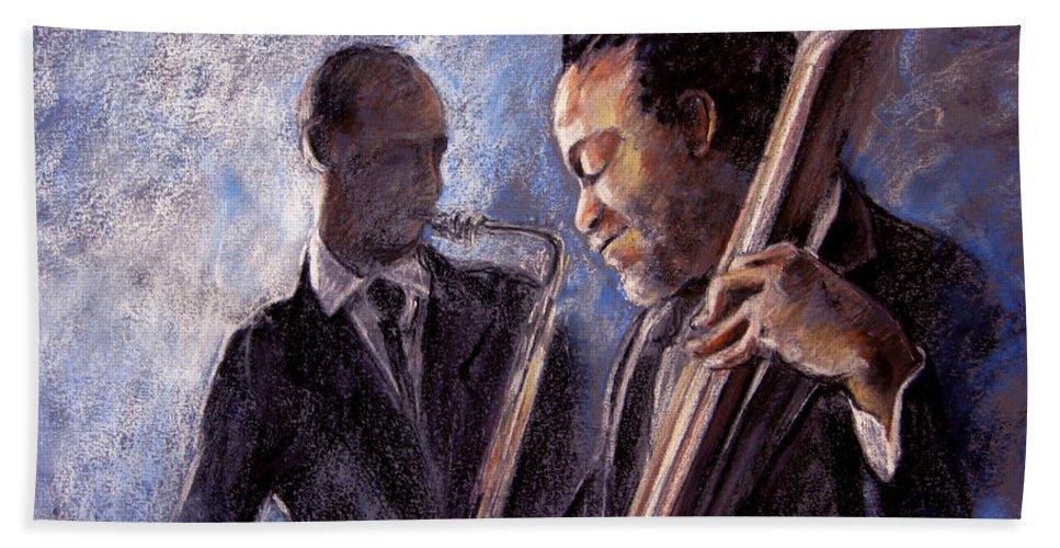 Jazz Bath Towel featuring the painting Jazz 02 by Miki De Goodaboom