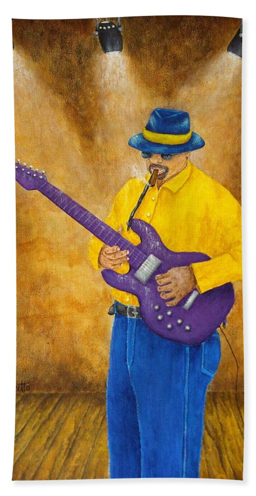 Allegretto Art Hand Towel featuring the painting Jazz Guitar Man by Pamela Allegretto