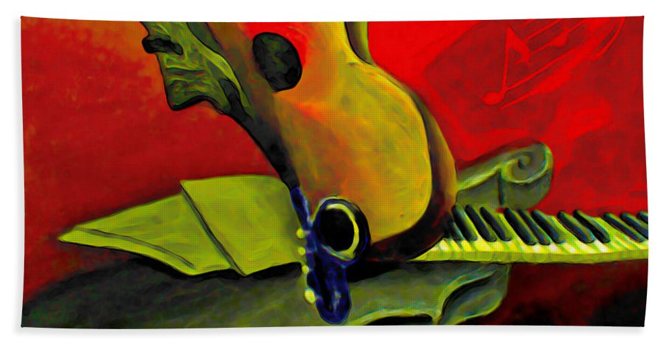 Abstract Hand Towel featuring the painting Jazz Infusion by Fli Art