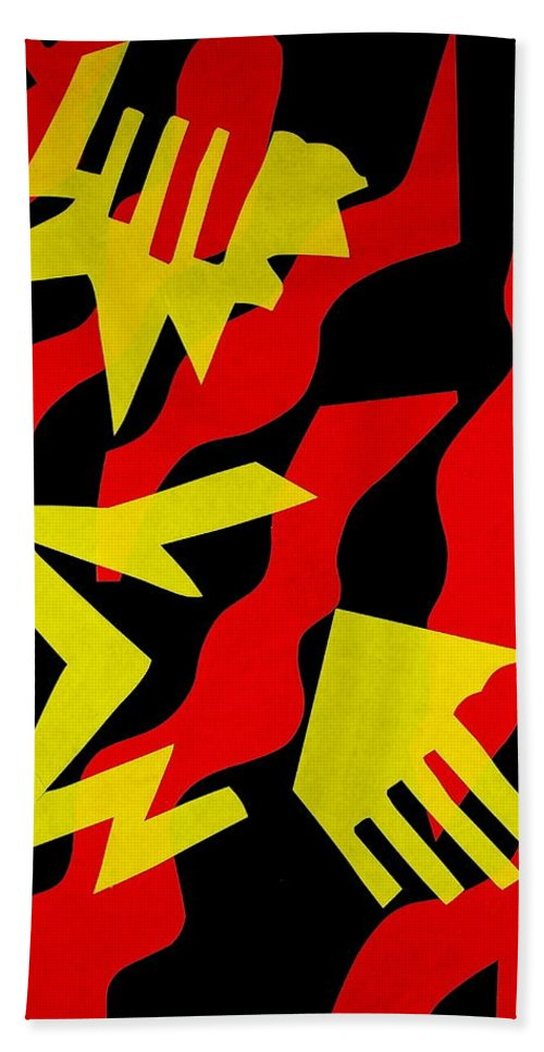 Abstract Hand Towel featuring the mixed media Jazz by Michele Myers