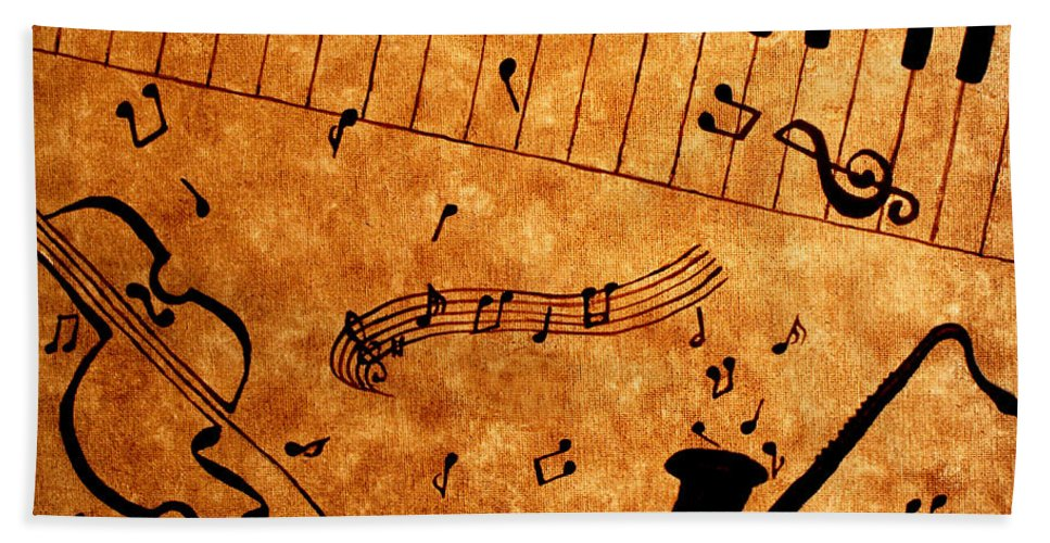 Abstract Jazz Music Bath Sheet featuring the painting Jazz Music Coffee Painting by Georgeta Blanaru