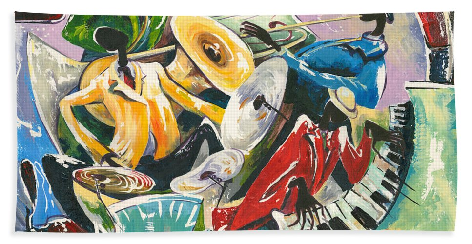 Canvas Prints Bath Towel featuring the painting Jazz No. 3 by Elisabeta Hermann