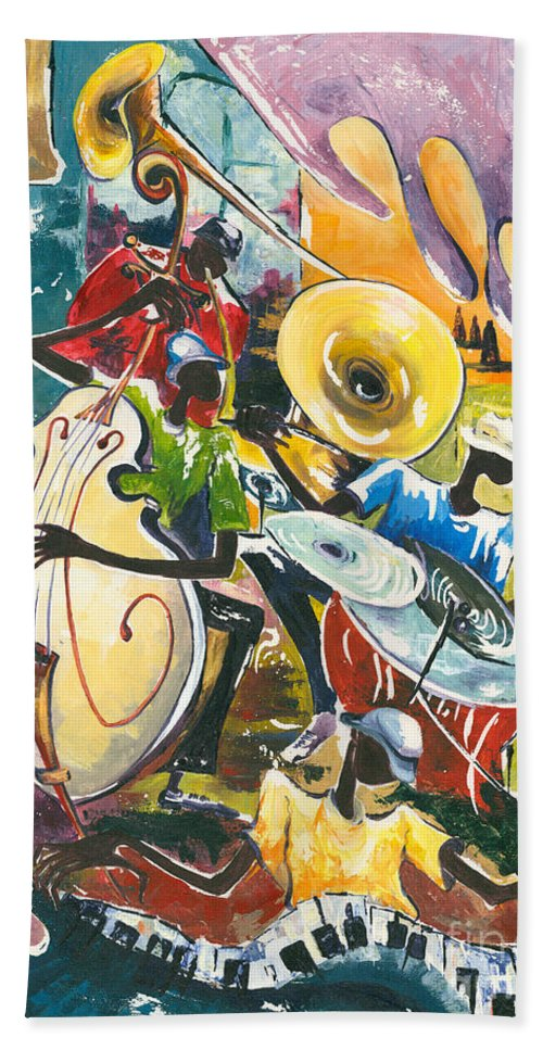 Acrylic Hand Towel featuring the painting Jazz No. 4 by Elisabeta Hermann
