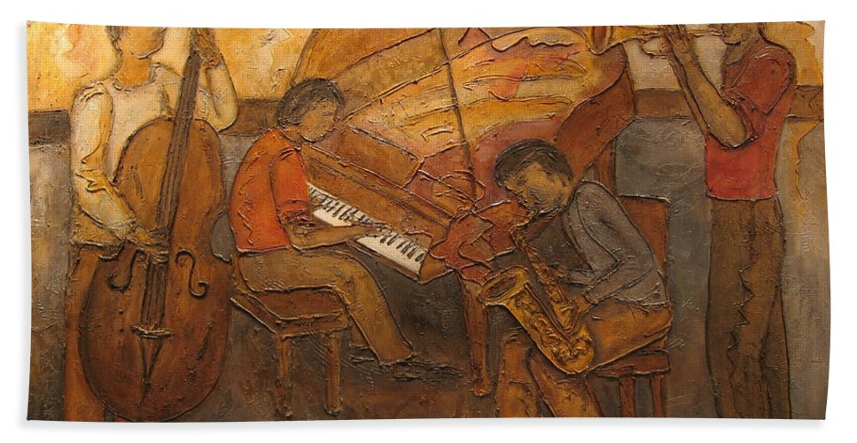Impressionist Hand Towel featuring the painting Jazz Quartet by Anita Burgermeister