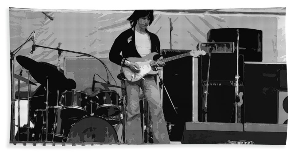 Jeff Beck Hand Towel featuring the photograph Jb #15 Enhanced by Ben Upham