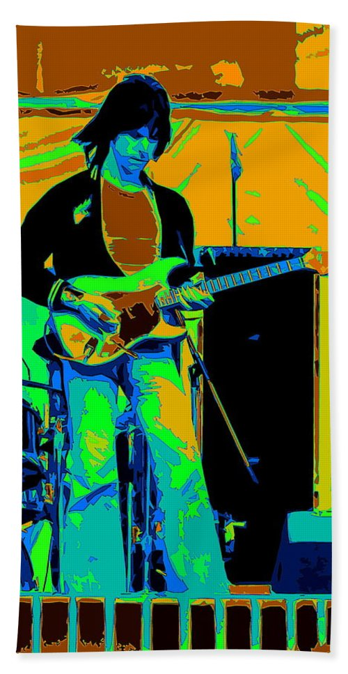 Jeff Beck Hand Towel featuring the photograph Jb #15 Enhanced In Cosmicolors Crop 2 by Ben Upham