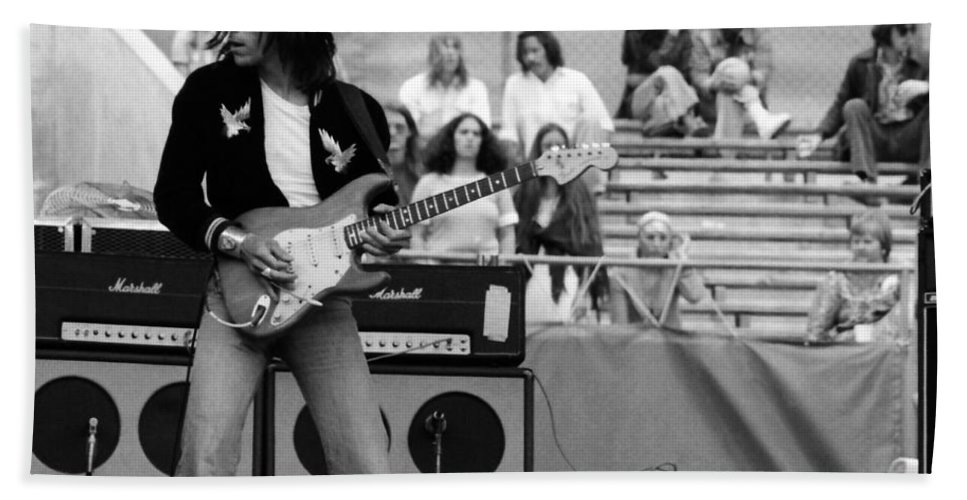 Jeff Beck Hand Towel featuring the photograph Jb #33 Crop 2 by Ben Upham