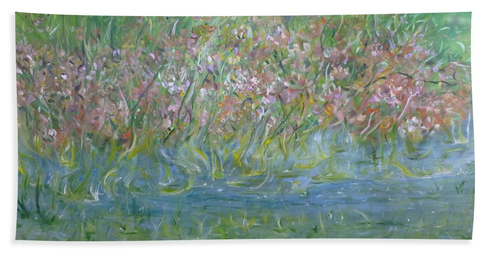 Whimsical Landscape Scene Hand Towel featuring the painting je t'aime Monet by Sara Credito