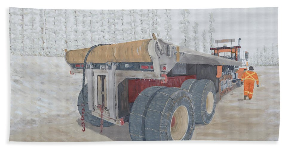 Rig Up Trucks Bath Sheet featuring the painting Jeff Watchell's #2 The Business End by Galen Cox