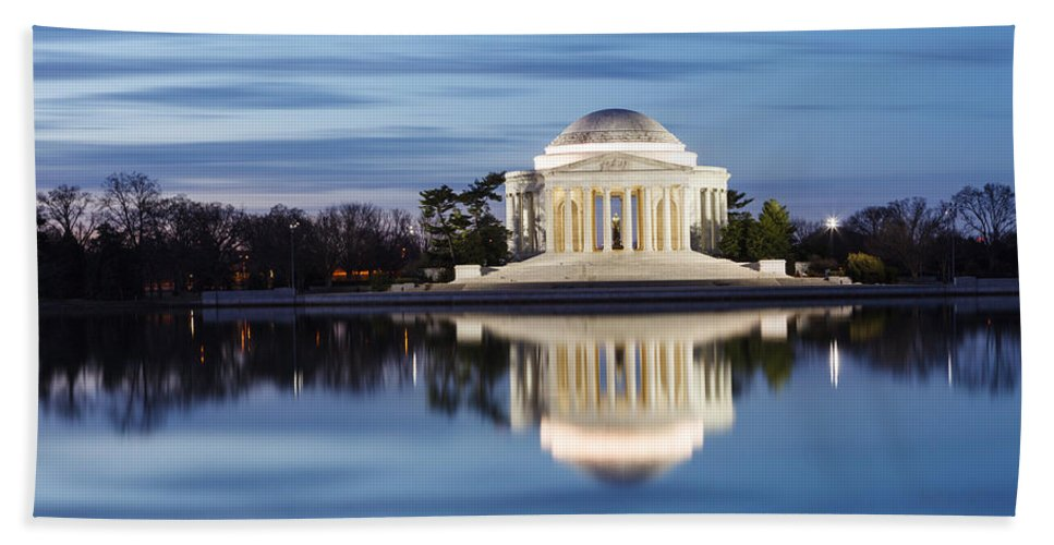 Thomas Jefferson Memorial Hand Towel featuring the photograph Washington Dc Jefferson Memorial In Blue Hour by Carol VanDyke