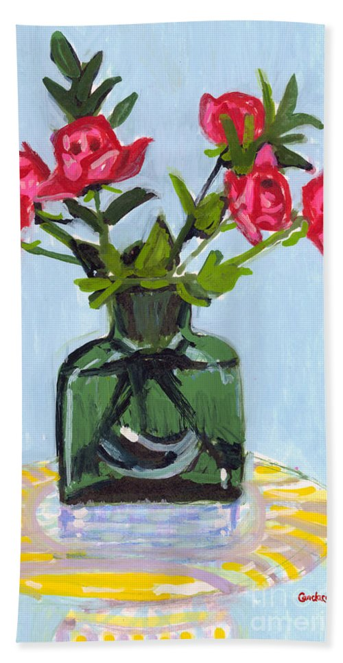 Red Roses In Green Bath Sheet featuring the painting Jeff's Vase And Rodger's Roses by Candace Lovely