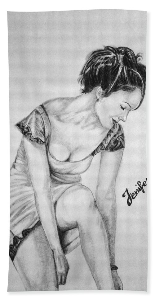Jennifer Lopez Hand Towel featuring the drawing Jeniffer Lopez by Alban Dizdari