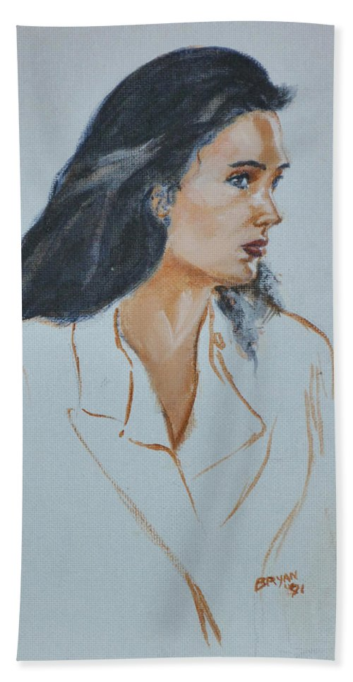 Jennifer Connelly Hand Towel featuring the painting Jennifer Connelly by Bryan Bustard