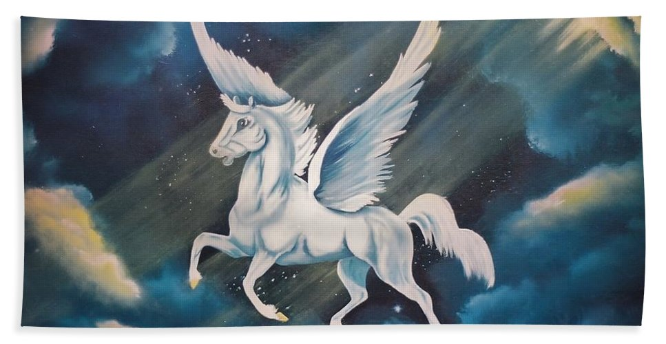 This Painting Was Done For The Daughter Of A Consignee Who Loved Pegasuses. Bath Sheet featuring the painting Jennifer's Ride by Duane West