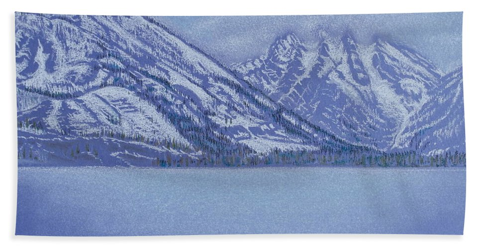 Landscape Hand Towel featuring the pastel Jenny Lake - Grand Tetons by Michele Myers