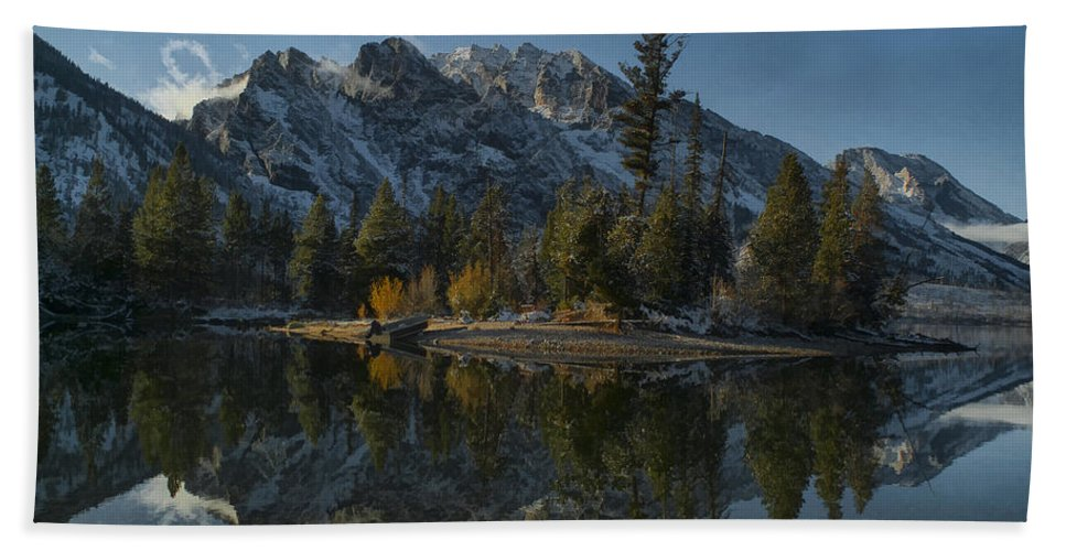 Lake Hand Towel featuring the photograph Jenny Lake Reflection by Erika Fawcett