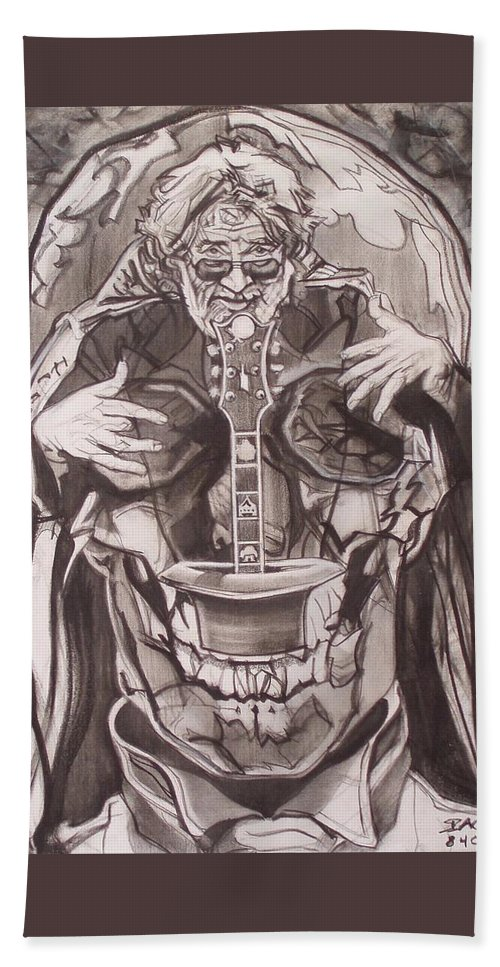 Charcoal Bath Towel featuring the drawing Jerry Garcia . . Magic Is What We Do - Music Is How We Do It by Sean Connolly