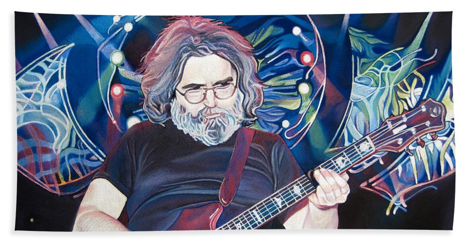 Jerry Garcia Hand Towel featuring the drawing Jerry Garcia And Lights by Joshua Morton