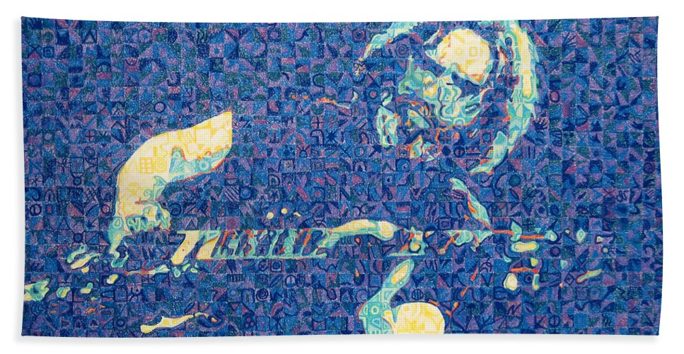Jerry Garcia Bath Towel featuring the drawing Jerry Garcia Chuck Close Style by Joshua Morton