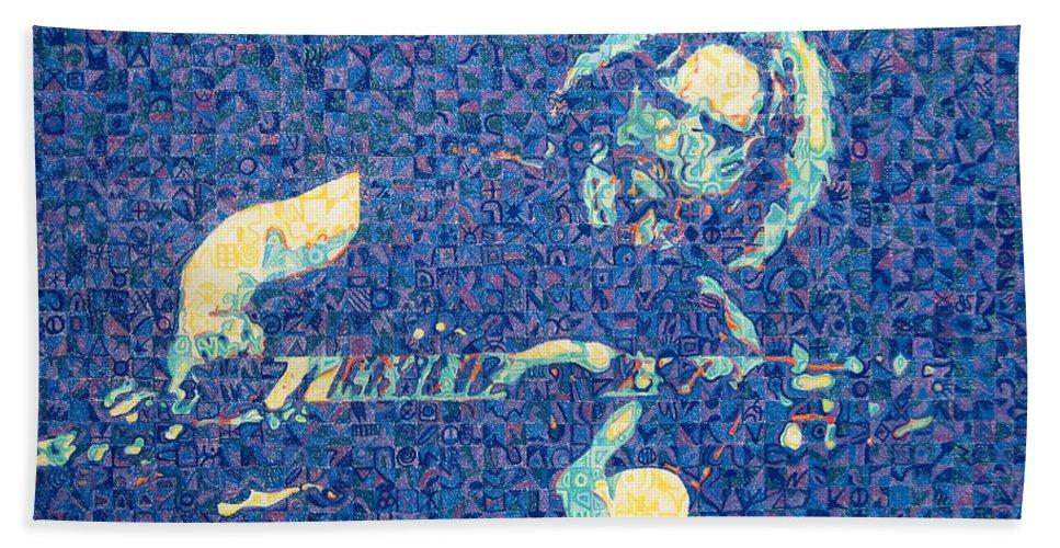 Jerry Garcia Bath Sheet featuring the drawing Jerry Garcia Chuck Close Style by Joshua Morton