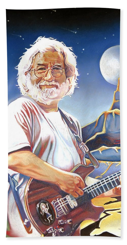 Jerry Garcia Bath Sheet featuring the drawing Jerry Garcia Live At The Mars Hotel by Joshua Morton