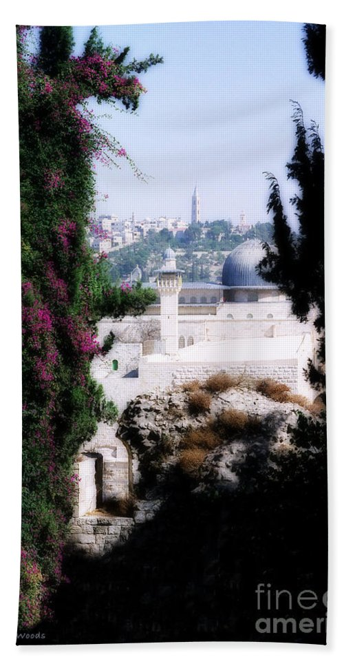Jerusalem Hand Towel featuring the painting Jerusalem Beautiful by Constance Woods