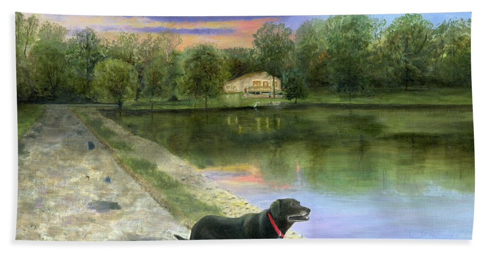 Jessica's Mystery Original Oil Painting Canvas Purple Blue Sky Clouds Sun Set Sunset Beautiful Cecilia Brendel Black Labrador Dog Lab Kitten Cat Portrait Home House Lake Front Thomas Kinkade Jessica's Mystery Trees Reflection Long Road Water Woods Green Gary Koen's Home Waterloo Illinios Thomas Kinkade Cecilia Brendel Hand Towel featuring the painting Jessica's Mystery by Cecilia Brendel