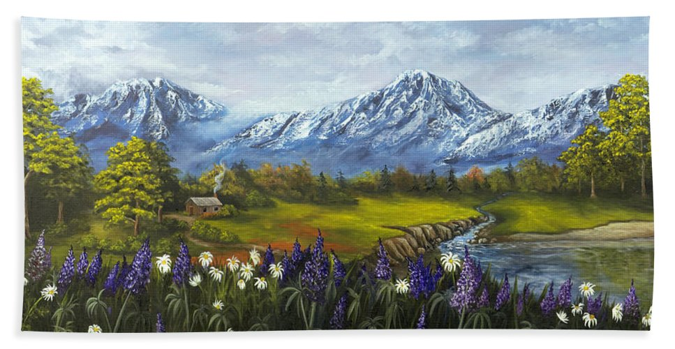 Landscape Bath Towel featuring the painting Jessy's View by Darice Machel McGuire