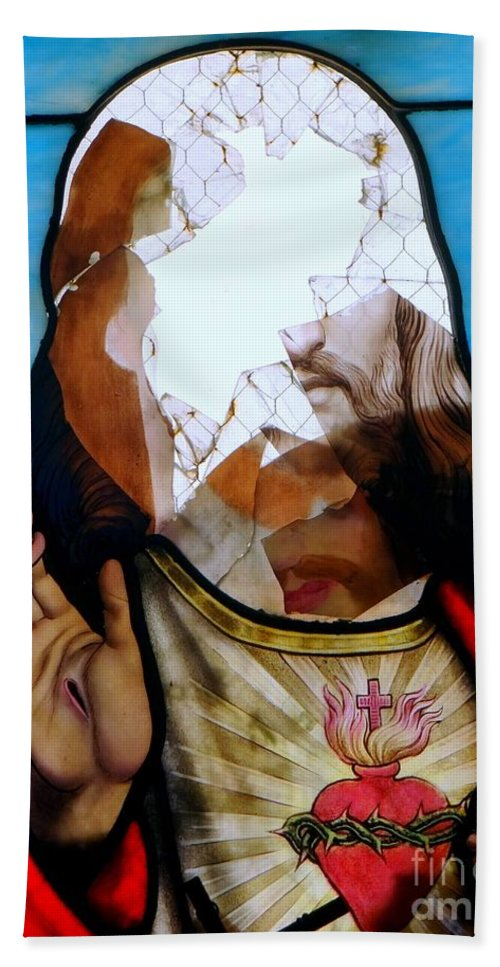 Stained Glass Bath Sheet featuring the photograph Jesus Abstract by Ed Weidman