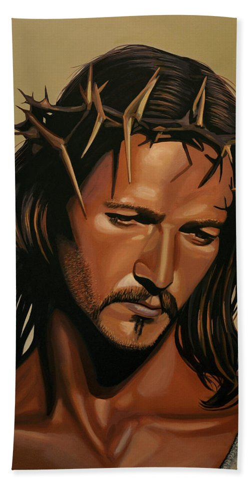 Jesus Christ Bath Towel featuring the painting Jesus Christ Superstar by Paul Meijering