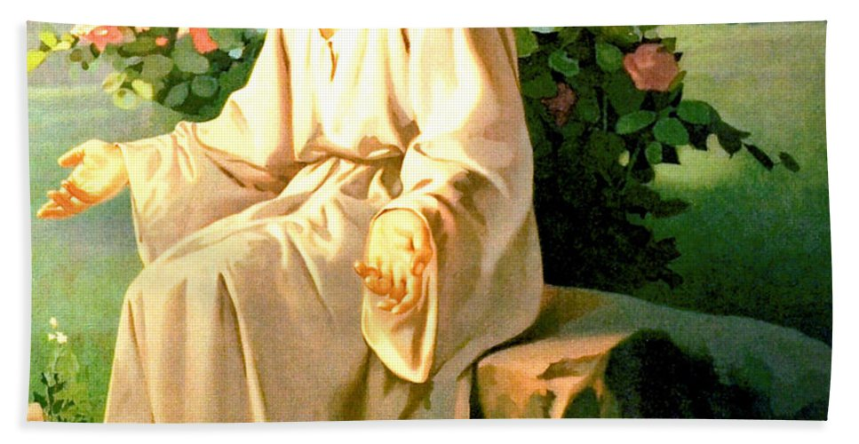 Jesus And The Little Children Hand Towel featuring the digital art Jesus Christ by Unknown