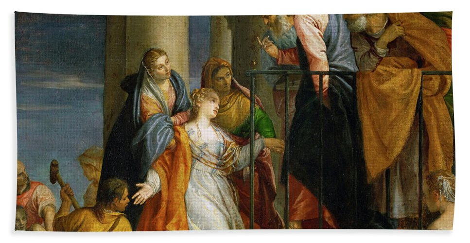 Paolo Veronese Bath Sheet featuring the painting Jesus Healing The Woman With The Issue Of Blood by Paolo Veronese
