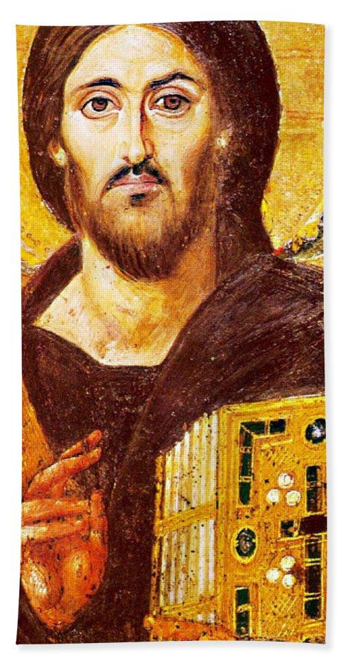 Jesus Icon Bath Sheet featuring the photograph Jesus Icon At Saint Catherine Monastery by Munir Alawi