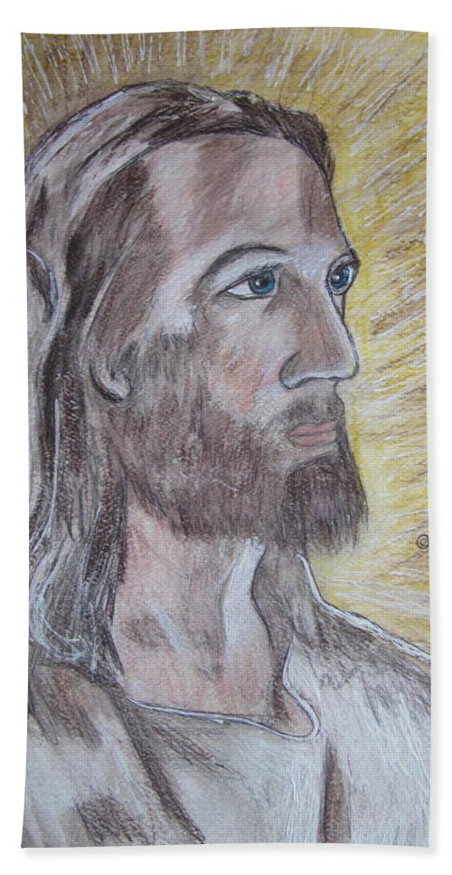 Jesus Hand Towel featuring the painting Jesus by Kathy Marrs Chandler