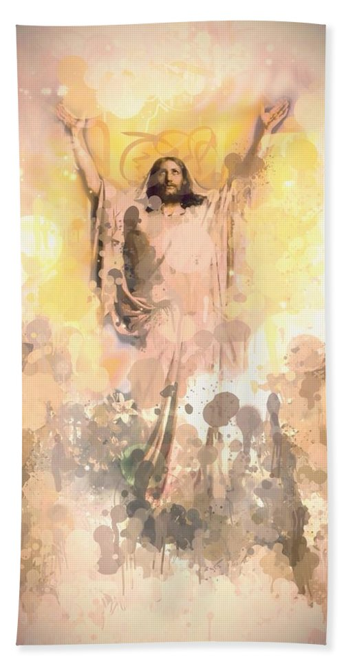 Jesus Christ Christus Faith Bible Holy Spirit Love Loves Heaven Forgiveness Digital Art Hand Towel featuring the painting Jesus Loves You 2 by Steve K