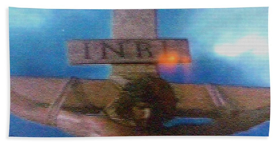 Christ Bath Sheet featuring the photograph Jesus On The Cross Mosaic by George Pedro