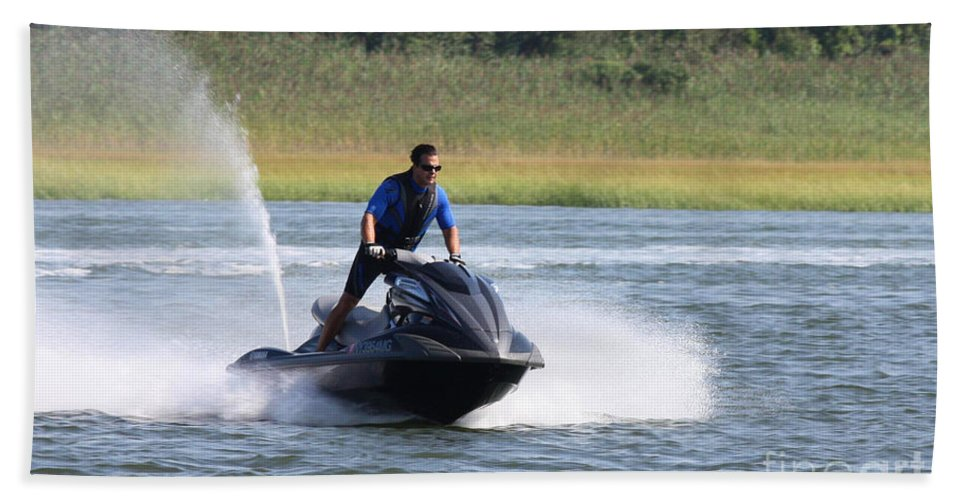 Jet Skier Bath Sheet featuring the photograph Jet Skier by John Telfer