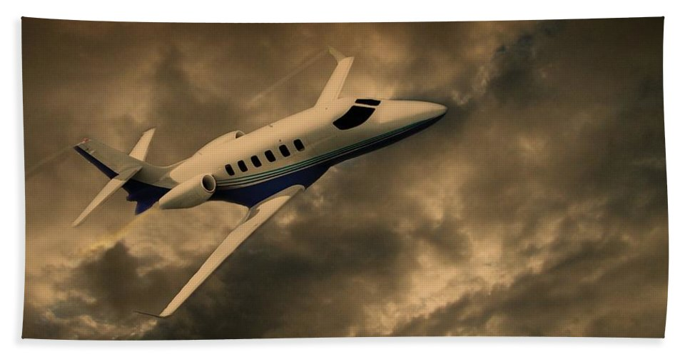 Jet Hand Towel featuring the photograph Jet Through The Clouds by David Dehner