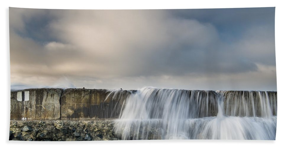 Humboldt Bay Hand Towel featuring the photograph Jetty Spillover Waterfall by Greg Nyquist