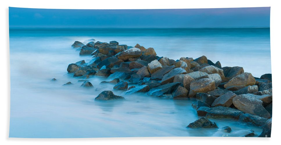 Sunset Bath Sheet featuring the photograph Jetty Sunset by Dale Powell