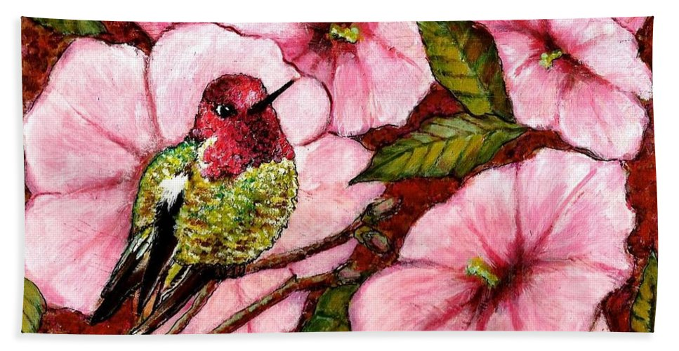 Bird Bath Sheet featuring the painting Jewel Among Blooms by VLee Watson